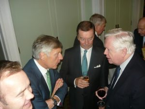 Joe Hughes and Tradewinds Jim Mulrenan exchanging views; in the centre Petre Smart Consultant t Tysers