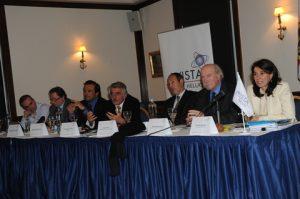 The Forum's Panel: Dimitris Vassilacos, Alex Papachristides-Bove, George Gourdomihalis, Manolis Vordonis, John Coustas, George Anomeritis, Rea Metropoulou