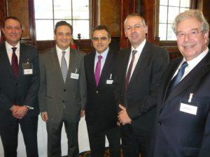 l to r: Lloyd's Registre's David Barrow, John M. Hadjipateras, Apo Poulovassilis, Richard Sadler and Chandris' Alex Xenakis