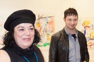 The artist with Eleni Nikodimou who opened the exhibition