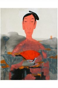 Red fan passions, Watercolour on paper, By Vu Thu Hien