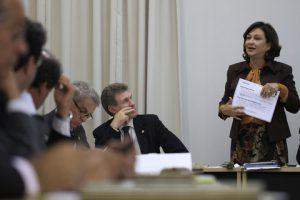 Senator Kati Adreu during a Congressional debate on the new legislation.