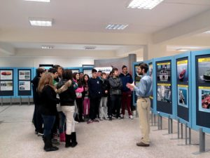 High school students being led through the Exhibition