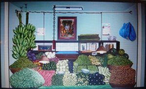 Vegetable stall, Oil on canvas, By Tina Chandroji