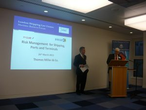 LSLC's Martin Rowland introducing the event with Chairman and host John Mc Phail on the left