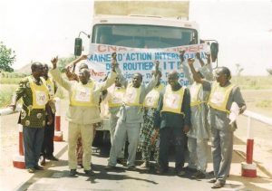 SNCRN workers striking at Trenson Investment Trading, Niger.