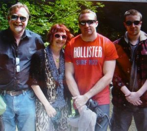 Lindy Jones with husband Gareth and sons Robbie and Owen, in July 2012