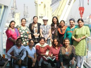 WISTA India members visit heavy lift ship Trina with Ms Sanjam Sahi Gupta at the second row in the centre.