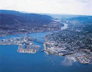 An aerial view of Port of Drammen, Norway