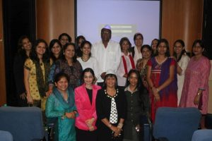 WISTA India members meet the president of Mumbai Dabbawalla Association