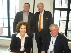 Alex Davis, Jim Davis (standing) and Julie Glegg and John Dalby (seated)