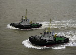 An artist's impression of the tugs
