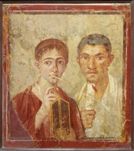 Wall painting of the baker Terentius Neo and his wife. From the House of Terentius Neo, Pompeii. AD 50 to 79. Copyright Soprintendenza Speciale per i Beni Archeologici di Napoli e Pompei/Trustees of the British Museum