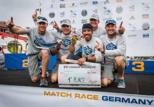 Ian Williams and the GAC Pindar crew, Mal Parker, Bill Hardesty, Graeme Spence and Willem Van Waay, winners of the 2013 Alpari World Match Racing Tour in Germany.