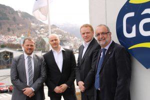 Sebastian Rasmussen (Logistics & Projects Manager), Henrik P. Lassen (VP Operations) and Jan Almqvist (MD) of POLOG with Ahmet Özsoy, Managing Director of GAC Norway