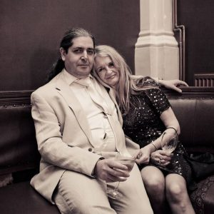 Linda Sutton with husband Dominic at the recent Battersea Arts Centre production of Orpheus