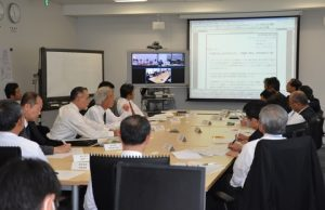 Scene of Tabletop Drill; the drill was held via videoconference among MOL Liner (HKG), the ship management company (HKG) and the Emergency Control Headquarters.