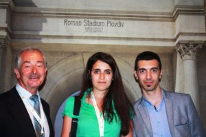 James Brewer, tourist guide Angelina Titeryakova and tourism specialistAlexander Gerov at the International Tour Operators conference, Plovdiv