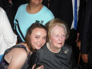 Sophie Shrubsole and Lady Thatcher in 2010