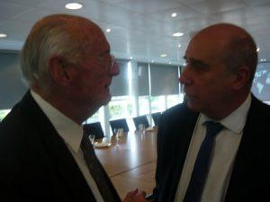 Jim Davis with Eurofin's Alan McCarthy exchanging views