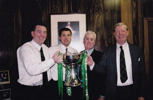 Martin Gordon holding the Scottish League Cup won by Celtic, with his niece's husband former Celtic player Pat McGinlay
