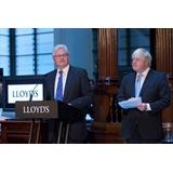 Lloyd's Chairman John Nelson and London Mayor Boris Johnson address the Lloyd's of London market in the Underwriting room
