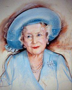 HRH The Queen Mother. Pastel. By Barbara Kaczmarowska Hamilton.