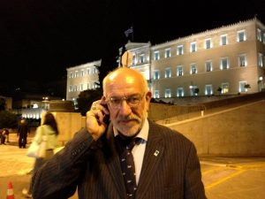 John Faraclas outside the Greek Parliament: Watch this space...