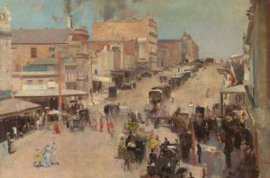 Allegro con brio: Bourke Street West c 1885-86, reworked 1890, By Tom Roberts, Oil on canvas on composition board, National Gallery of Australia and the National Library of Australia