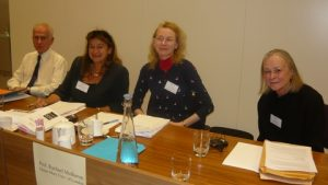 The panellists with John Kingston, Vasanti Selvaratnam QC, Chairman, prof. Rachael Mulheron and Mary Gibbons
