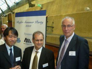 Antonis Faraklas of Chartworld Shipping Corporation flanked by NYKCool's Koichi Hamazaki and Ake Jonsson