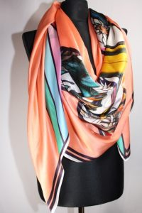 Scarf in silk satin chiffon