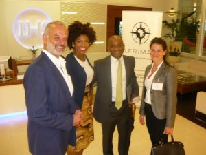 Gemina Cooper (second from the left) welcoming guests Dr. George Kiourktsoglou, Stanley Morrinson and Nancy Drakou