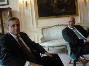 On the left the Greek Ambassador Konstantinos Bikas and the Minister Nicholas Dendias