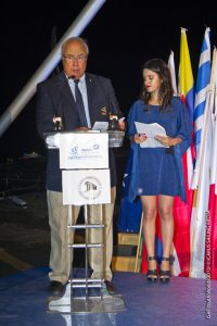 ISAF Vice-President George Andreadis at the podium Closes the 2013 Sail First ISAF Youth Worlds