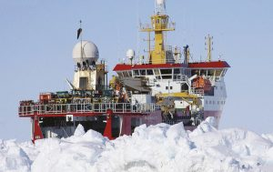 RRS Ernest Shackleton in Antarctic ice up to 2.5 m thick.