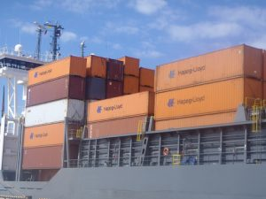M/v Anina at Ust-Luga port discharging containers for Ruscon's dedicated train service of VW parts