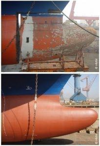 Bulb replacement on vessel Hyundai Brave during drydocking at Qingdao Beihai Shipyard, China.