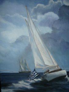"""Eva Bratopoulou, the """"Bluewaved Maistros"""", oil on canvas"""