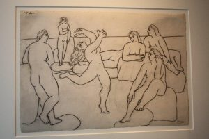 Baigneuses. Pencil on paper, lithograph By Picasso. 1921.