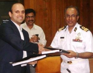 The Executive Director of Timblo Drydocks Sarvesh Pramod Timblo and Chairman of Mongla Port Authority, Commodore MH Bhuiyan during he signing ceremony
