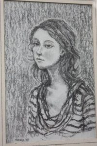 Girl in Striped Top. Charcoal By Cinzia Bonada
