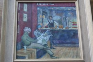 Espresso Bar, National Gallery. Oil. By Cinzia Bonada