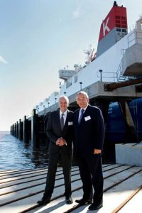 ABP Port Director Grimsby & Immingham John Fitzgerald with Robin Woolcock, former Managing Director, Volkswagen Group UK on the Grimsby River Terminal with the Viking Constanza in the background (image courtesy of ABP/David Lee Photography)