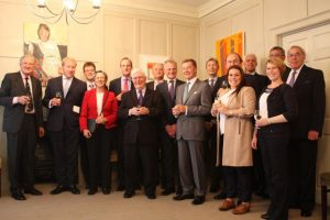 Friends and colleagues raise a toast to the memory of the late AntonyDelderfield