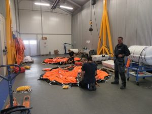 Liferaft Training in progress