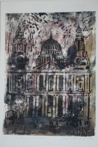St Paul's Cathedral. Print and drawing. By Malgorzata Bialokoz Smith.