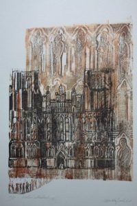 Wells Cathedral, Print and drawing., By Malgorzata Bialokoz Smith.