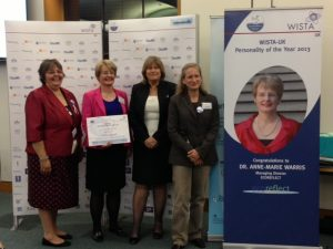 Dr Warris had been chosen as WISTA-UK Personality of the Year 2013 - l to r: Maria Dixon, WISTA-UK President, Dr.Anne-Marrie Warris, with Katharina Stanzel, managing director of INTERTANKO (2012 winner) and Suzanne Williams, Hostage Negotiator (2010 winner). Photo: Anny Zade