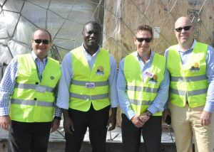 GAC Ghana's Managing Director Neale Proctor (far left) poses with GAC-OMA colleagues Sam Edmund (Country Manager, Ghana), Ian Treder (Business Manager, Europe) and Gary Miller (Group Managing Director, OMA West Africa), following the announcement GAC-OMA's operations to include the Ivory Coast.